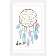 Home Accents Pastel Dreamcatcher Framed Painting Print ❤ liked on Polyvore featuring home, home decor, wall art, dream catcher painting, pastel painting, feather painting, dream catcher home decor and feather wall art