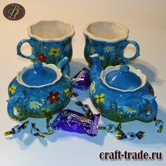 Чайный сервиз из белой глины Русское поле с ручной росписью подглазурными красками купить в интернет магазине Рукоделец