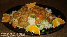 Pinapple coconut shrimp on jasmine rice (www.cookoutloud.com) Recipe via @SparkPeople