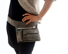 Black Leather Hip Bag bum bag fanny pack travel by RuthKraus
