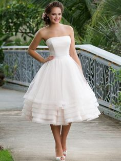 Ball Gown Strapless Neckline Tea-Length Organza Bridal Gown With Layers