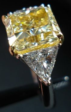 Fancy Yellow diamond radiant cut by Eva