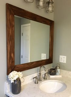 Powder room ideas - Shiplap Large Wooden Framed Mirror Available in 4 Sizes and 20 Colors: Shown in Special Walnut Stain - Large Wall Mounted Mirror - Decor Bathroom - Vanity Mirror - Rustic Bathroom Large Bathroom Mirrors, Bathroom Mirror Design, Rustic Mirrors, Bathroom Colors, Bathroom Ideas, Bathroom Gallery, Bathroom Updates, Wooden Bathroom, Bathroom Interior