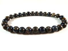 Blue Pietersite Stretch Bracelet 6mm Smooth Round Tumbled Bead Rust Brown Gemstones by SandiLaneFineArt on Etsy