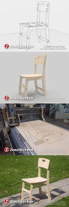 cnc-cut dining-chair, flat-pack, tool-free assembly, design by ZenziWerken