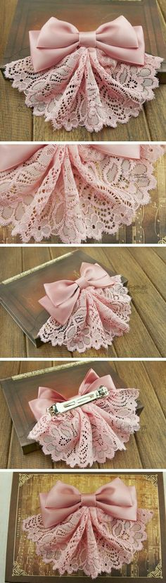 Lace bow hair accessories is artistic inspiration for us. Get extra photograph a… Lace bow hair accessories is artistic inspiration for us. Get extra photograph about House Decor and DIY & Crafts associated with by taking a look at photographs gallery on Lace Bows, Ribbon Bows, Ribbons, Ribbon Flower, Diy Ribbon, Flower Diy, Diy Couture, Diy Hair Bows, Diy Hair Clips