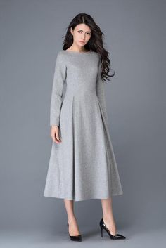 The womens dress is made of wool blend and polyester. The wool dress has a gray polyester lining The winter dress has no pockets The gray wool dress is closed by side zipper The grey dress has pleated on the dress round collar, long sleeve Shop sizing ch Winter Dresses, Women's Dresses, Dress Outfits, Fashion Dresses, Dress Winter, Casual Dresses, Fashion Top, Fashion 2018, Sweater Outfits