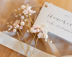 Cherry Blossom Hair Pins - Set of 3  -  Wedding Hair Accessories - Bridal Hair Pins - Pink Wedding Accessories