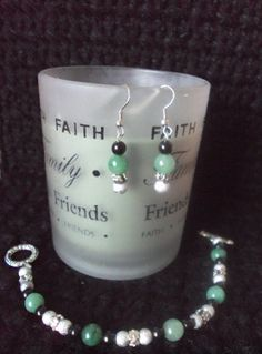 Green Jade Beaded Earrings & Matching Bracelet Set by mamabecca73, $19.99
