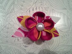 Origami fabric flower set of three by barefootprincessita on etsy origami fabric flowers with buttons mightylinksfo
