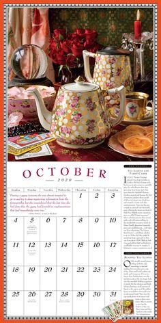 """Collectible Teapot & Tea """"October"""" 2020 Calendar Page Calendar Pages, Calendar 2020, Commonwealth, October Country, Best Cookbooks, Victory Garden, Herbalism, Tea Pots, Wall"""
