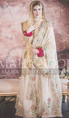 Sep 2019 - can do this modestly with one dupata covering full hair Pakistani Party Wear Dresses, Bridal Mehndi Dresses, Nikkah Dress, Shadi Dresses, White Bridal Dresses, Pakistani Wedding Outfits, Indian Bridal Outfits, Bridal Dress Design, Pakistani Dress Design