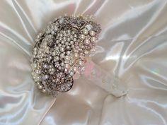 Pearly brooch bouquet www.elizabethroseevents@hotmail.co.uk