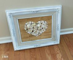 old frame repurposed with faux pallet button heart art, diy home crafts, repurposing upcycling, seasonal holiday d cor, Old frame repurposed into faux pallet button art