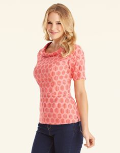 Bardot Jacquard Top in Coral by Pepperberry Tops