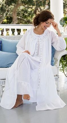 0362b8dfa3 Moonilight Sonata cotton lawn robes by Eileen West are adorned with  latticework floral lace