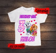 Paw Patrol Birthday shirt for girls, custom with name and age, skye and everest