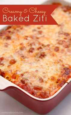 Cheesy Baked Ziti Recipe - Mom Endeavors Creamy+&+Cheesy+Baked+Ziti+-+one+delicious+pasta+recipe+that+the+entire+family+will+love! Easy Baked Ziti, Cheesy Baked Ziti Recipe, Baked Ziti With Ricotta, Baked Ziti Recipe With Cottage Cheese, Baked Rigatoni, Oven Baked, Yummy Pasta Recipes, Casserole Recipes, One Pot Dinners