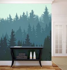 More click [.] Accent Wall Painting Ideas Living Room Wall Mural Accent Wall Homedit Dare To Be Different 20 Unforgettable Accent Walls Design Case, Wall Design, House Design, Forest Mural, Modern Hallway, Modern Wall, Modern Living, Creative Walls, Creative Photos