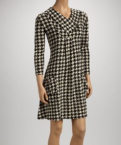 Love this Black Houndstooth Pocket Cowl Neck Dress by Reborn Collection on #zulily! #zulilyfinds