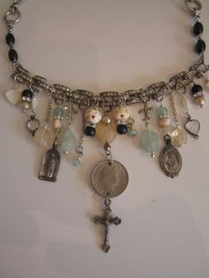 religious repurposed assemblage necklace charm by atelierparis, $150.00