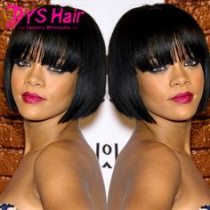 New Short Straight Bob Wigs Synthetic Wigs For Black Women Black Short Wigs For Black Women Natural Cheap Hair Wigs With Bangs