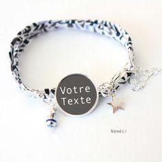 Personnalisé le ! bracelet cabochon liberty graphique - idée cadeau unique maman, mamie, tata, marraine, copine...