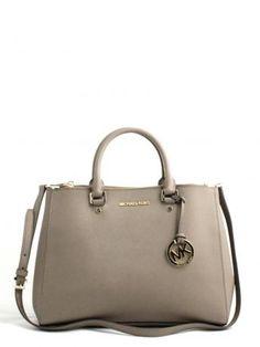Michael Kors-sutton dark dune leather bag-borsa in pelle color tortora-Michael  Kors bags shop online ceee71fe149