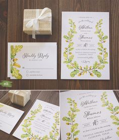 Autumn Oak Wedding Invitation Suite