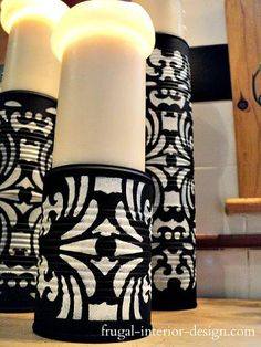 upcycled soup cans into candle pedestals