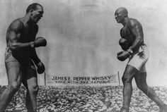 """Fight of the Century"" Between first black Heavyweight Champion Jack Johnson and former champion James J. Jeffries."