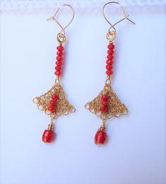 "Florina Ravariu earrings : ""Summer Nights Fan earrings with red coral beads. Red Coral, Summer Nights, Jewelry Art, Art Pieces, Drop Earrings, Beads, Crochet, How To Make, Handmade"