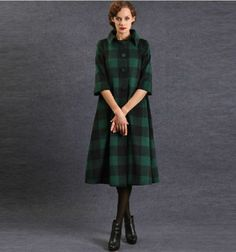 PLUS SIZE Vintage Style Long-Sleeved check Slim Coat TE086 plus1x-10x (SZ16-52)