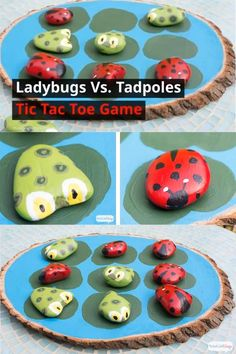 Keep your little tadpoles busy with this DIY tic tac toe game. Once they've painted the rocks to look like lady bugs and tadpoles, kids will have fun playing the game. First one to get claim three lilypads in a row wins! Kids Crafts, Garden Crafts For Kids, Bug Crafts, Easy Arts And Crafts, Rock Crafts, Nature Crafts, Crafts To Do, Projects For Kids, Diy For Kids