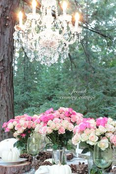 Decoration / Rose and - or with Pink / rosa - Rosendekoration Ein Kronleuchter im Freien ! French Country Cottage, French Country Decorating, Cottage Style, Country Fall, Cottage Living, French Decor, Fall Decorating, Table Setting Inspiration, Wedding Inspiration