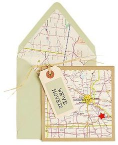 Paper Source Change of Address Card idea Using an Area Map is a great idea to use on your new home announcements Change Of Address Cards, New House Announcement, Art Postal, New Home Cards, Moving Announcements, Paper Source, Housewarming Party, Diy Cards, Gifts