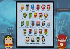 Superheroes alphabet sampler<br> A = Aquaman, B = Batman, C = Captain America, D = Daredevil, E = Elektra, F = Flash, G = Green Arrow, H = Hulk, I = Iron man, J = Jean Grey, K = Kitty Pryde, L = Green Lantern, M = Martian Manhunter, N = Nightcrawler, O =
