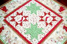 Christmas Table Topper Quilted Table Topper by RedNeedleQuilts