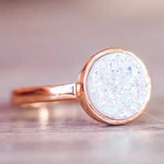 Rose Gold with Druzy Quartz Ring | Bohemian Gypsy Jewelry | Boho Festival Jewellery | Indie and Harper