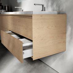 meuble de salle de bains de design mural, en bois massif, doté de tiroirs
