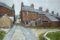 Alleyway by David Brammeld RBSA. David has been recording the backs around Stoke on Trent for over 12 years. The original is now available at Barewall £465 or as a limited edition at £85
