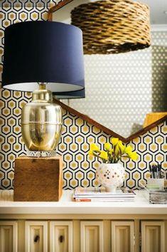 davidhickswallpaper - geometric wall paper honey comb design yellow and navy