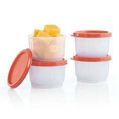Tupperware Snack Cups - Take single servings of snacks or small portions anywhere. Includes four 4-oz./120 mL Snack Cups with airtight and liquid-tight seals.