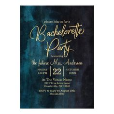 Navy Blue & Gold Bachelorette Party Invitation - wedding invitations cards custom invitation card design marriage party