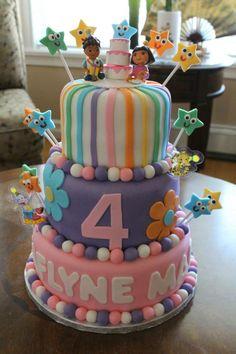 Dora Cake for a little girl's birthday #dora #birthday #cake #rainbow