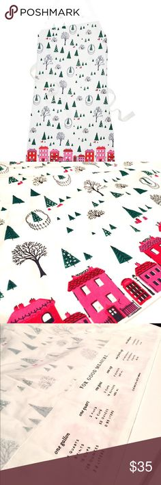 """🎄NWTs Kate Spade Holiday Village Apron how to keep your cool in the kitchen: avoid errant splashes, know your quart-gallon-pint-cup conversions, and have your favorite takeout restaurant on speed dial (just in case). this adorable apron will be your constant cooking companion--particularly during the holiday cookie season. 100% cotton 33"""" x 33"""" style # 159963apr machine wash cold kate spade Accessories"""