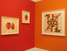 Blue, green, yellow, orange and red walls at Alexander Gray Associates are the perfect backdrop for a show of gorgeously colored paintings by late artist and housewares designer Vera Neumann, famous in the '60s and '70s for producing colorful, nature-inspired textiles, scarves, wallpapers and more. (In Chelsea through Aug 7th).Vera Neumann, Installation view at Alexander Gray Associates, July 2015.