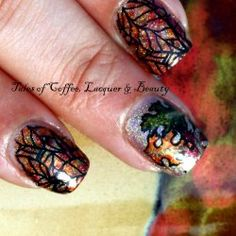 Tales of Coffee,Lacquer and Beauty: Fall Nail Art With Darling Diva Polish Cast A Spell and Bunny Na