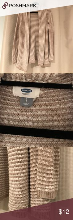 """Tan Shawl Collar Cardigan Old Navy open front cardigan with shawl collar. Tan with white stitching. Length is 30"""". Women's size small. Great condition. Last photo to show similar style on model. Old Navy Sweaters Cardigans"""