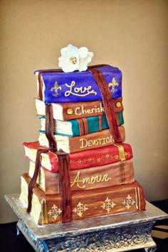 Stacked Book Wedding Cake | ... books and reading! The grooms cake was fashioned after an actual book